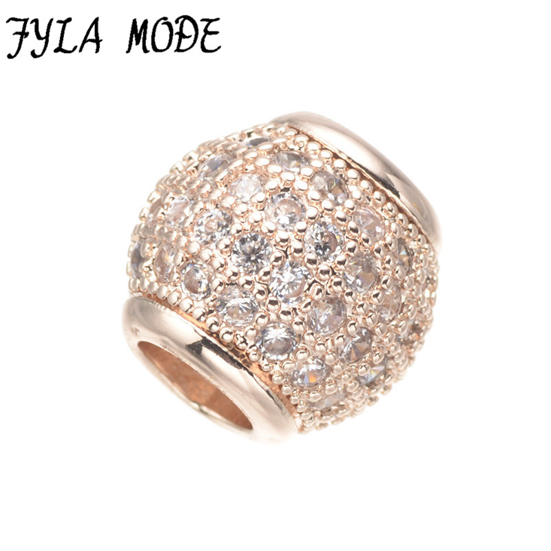 Fyla Mode Copper Clear Sparkles 11*10mm Pave Ball Beads Charms Pendant Fit Original Charm European Bracelet DIY Jewelry Making(China (Mainland))