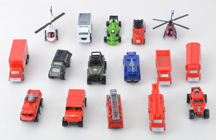 Alloy toy model set 16 pieces toy car helicopter truck ambulance jeep wrangler automobile race fire fighting military truck(China (Mainland))