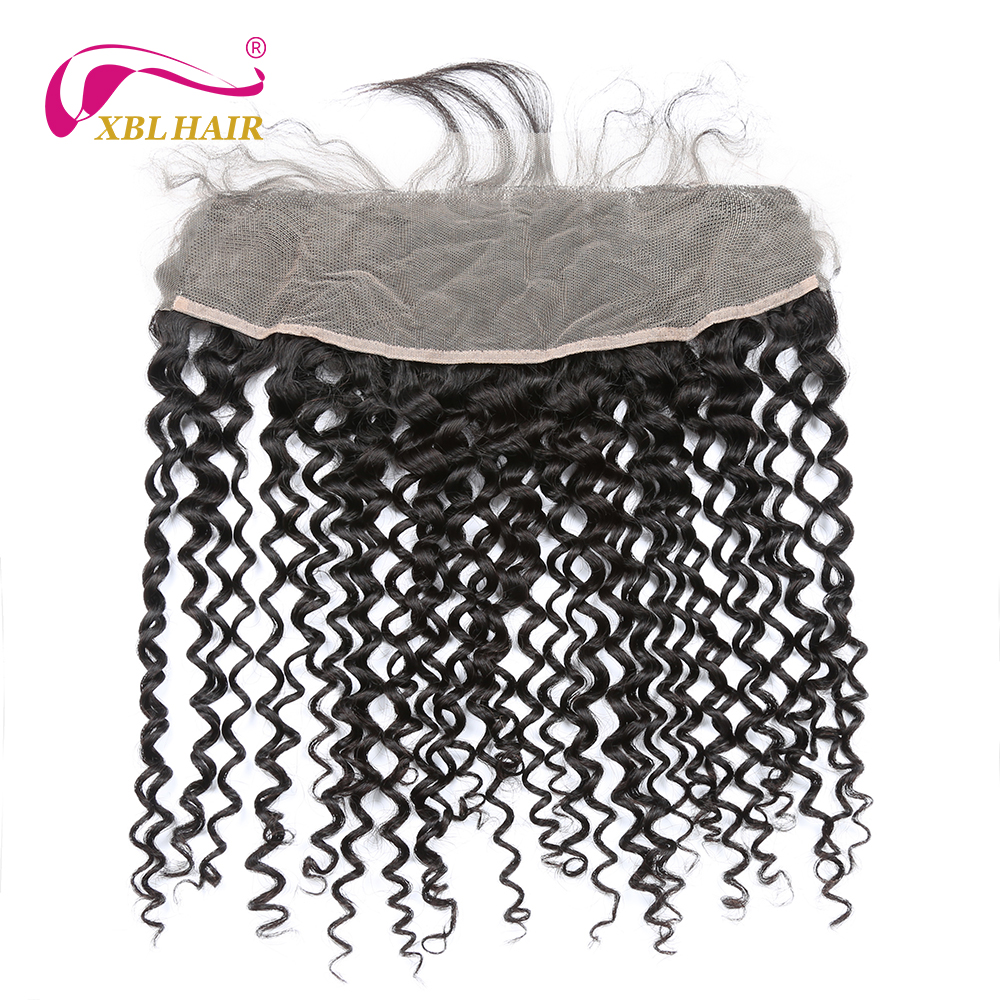 XBL HAIR Curly Weave Lace Frontal Closure With Baby Hair Peruvian Remy Hair 13*4 Free Part 100% Human Hair Free Shipping