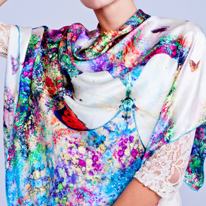 2016 Top Quality 100% real Silk Scarf Shawl Wrap for women Style Floral Design Digital Printed large sqaure Scarves 110x110CM(China (Mainland))