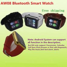 Nouvelle marque de mode 2015 AW08 montre bluetooth montre smart watch mains libres pour Samsung pour HTC / LG Xiaomi téléphone Android Smartphones