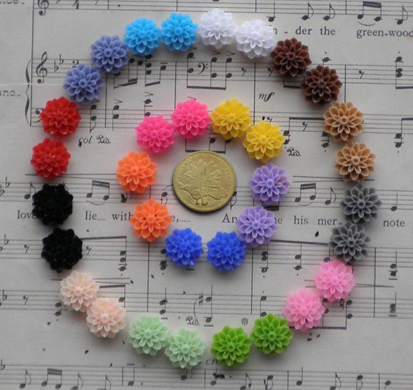 Free Shipping100 Pcs Mixed Colors Cabochon Resin Flowers Flatback Scrapbook Fit Phone Embellishment 14mm(China (Mainland))