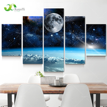 5 Panel Modern Printed Space Universe Landscape Paintings Canvas Picture Cuadros Earth Painting For Living Room No Frame XY284(China (Mainland))