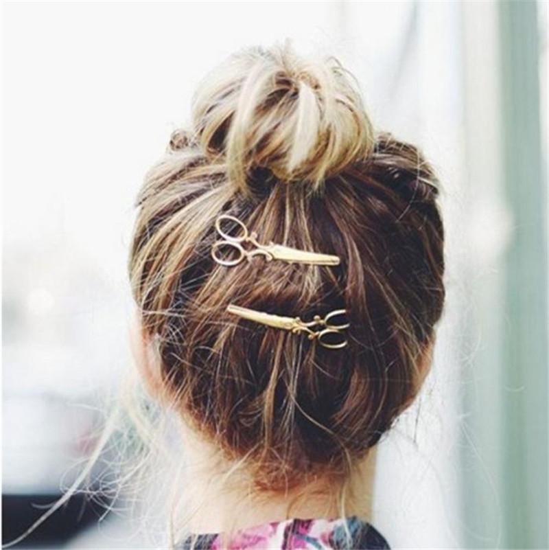 Fashion Cheap Hair Clip Hair Accessories Headpiece Hairpin scissors Headwear Gold Silver Free shipping & Wholesale(China (Mainland))