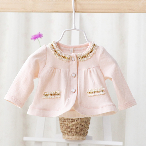 2015 spring and autumn new models female baby cotton jacket children's clothing kids fashion cute pretty shawl coats(China (Mainland))