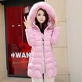 Ukraine Rushed Zipper High Waist 2016 New Long Parkas Female Girl Winter Coat Thickening Cotton Jacket