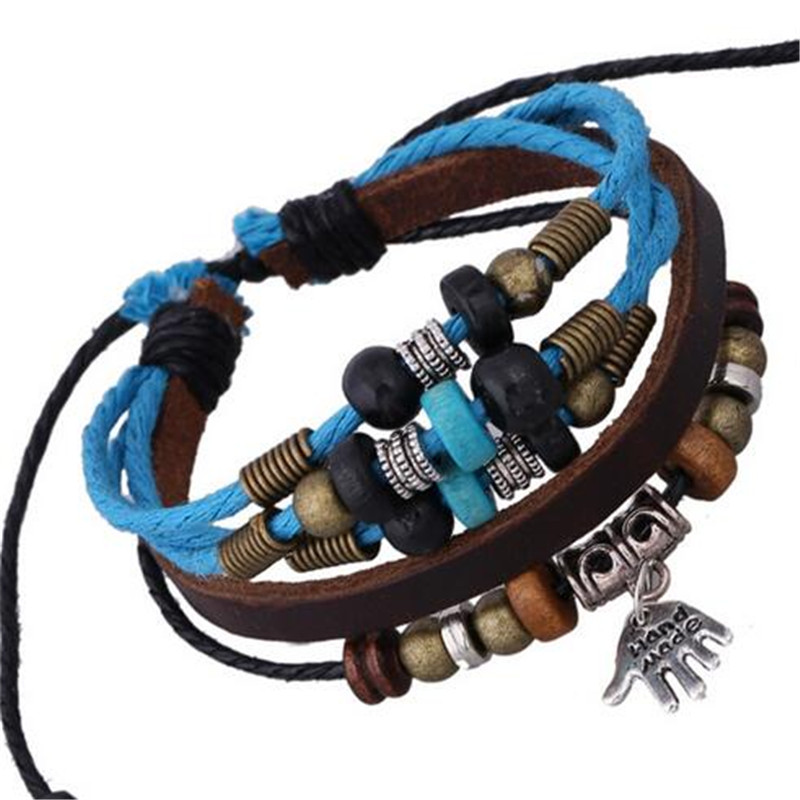 Silver Plated Hand Pendant Punk Vintage Copper Wood Beads Faux Leather Bracelets Men Charms Hippie Bangles For Women SACJ640(China (Mainland))