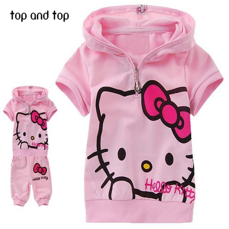 Free shipping lovely hello kitty girls suit for summer short T-shirt and pants 2pcs set retail(China (Mainland))