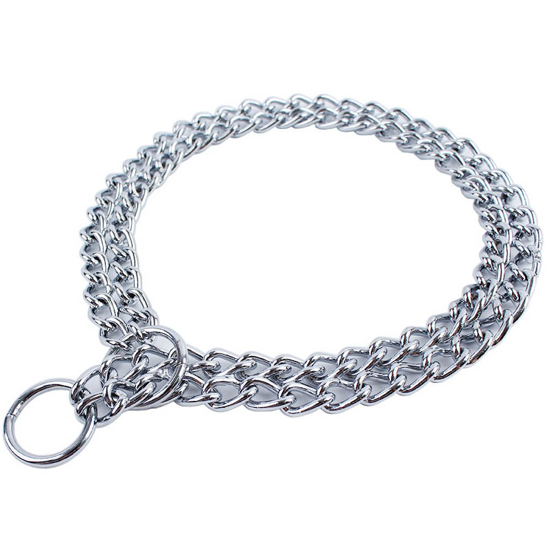 Hot Sale 1Pcs L Size Durable Double Chain Pet Dog Training P Chain Choke Dog Collar Train Snake Chains 60cm 0240(China (Mainland))