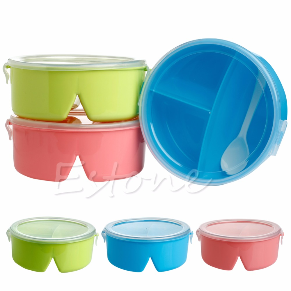 A96 Portable Round Microwave Lunch Box Bento Picnic Food Container Storage + Spoon(China (Mainland))