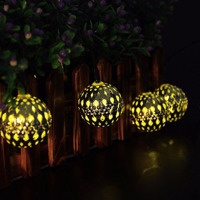 New 10 LED Moroccan Solar String Lanterns Warm White LED Fairy Lights Garden Party Christmas Decoration Ball Lamp Free Shipping