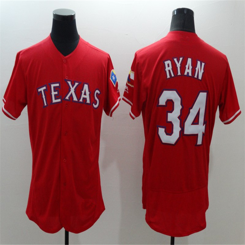 2016 Flexbase Men's Rangers 34 Nolan Ryan Gray Red Throwback Stitched Embroidery Baseball Jerseys(China (Mainland))