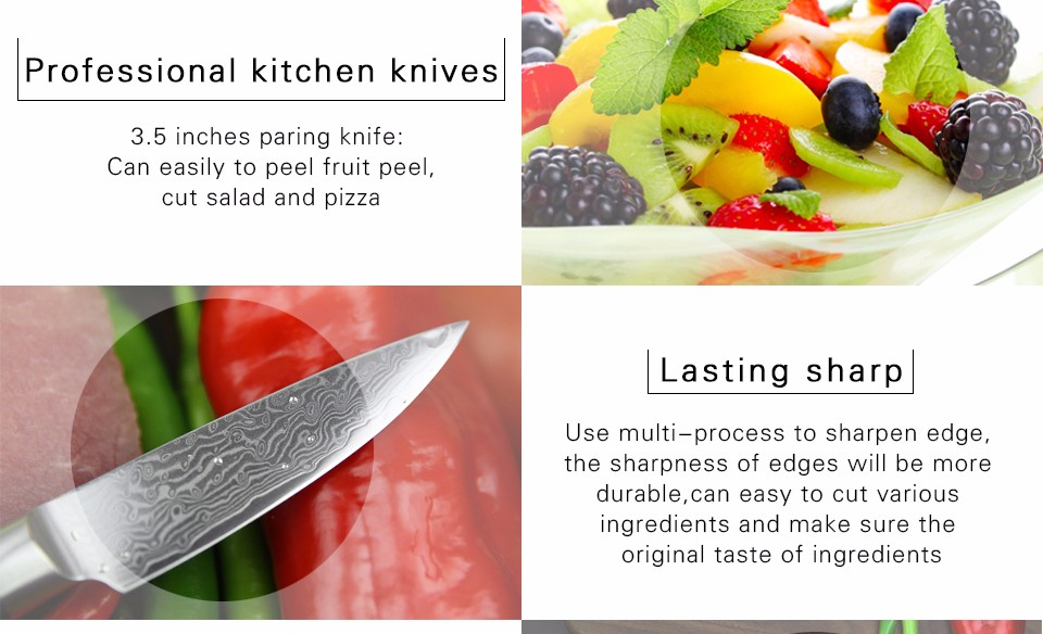 "Buy XINZUO 3.5"" paring knife kitchen knife VG10 Damascus steel kitchen knives parer fruit knife with pakka wood handle FREE SHIPPING cheap"