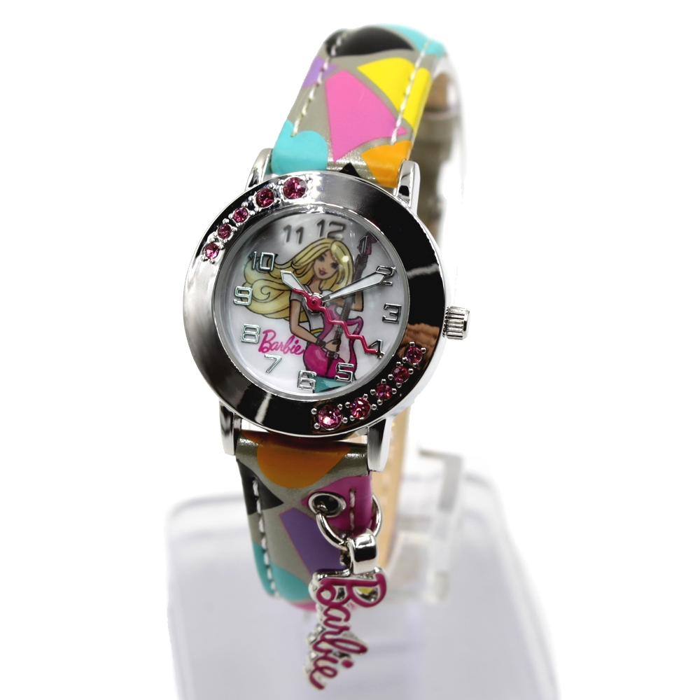Light Grey With Yellow Blue Pink Colourful Band Round PNP Shiny Silver Watchcase Water Resist Kids Watch KW075E(China (Mainland))