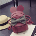 Fangxi Korean style Mickey ears female backpack bag mini zaino quality pu leather sweet bow College