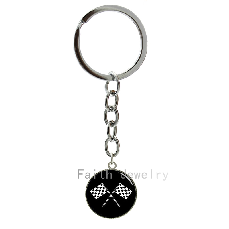 New arrived fashion sporty Racing font b Chequered b font Flag key chain black white checkered