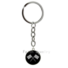 New arrived fashion sporty Racing Chequered Flag key chain black white checkered flags crossed art pattern mens keychain -1015