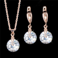 SHUANGR 1SET Gold-Color Jewlery Set Round Cut White AAA cubic zirconia CZ Party necklace pendant drop earrings jewelry set H340(China (Mainland))