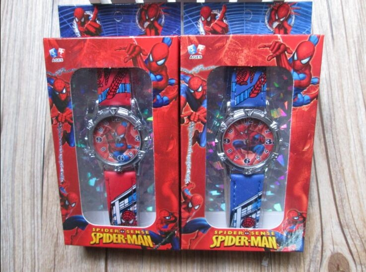 2015 NEW 50pcs/lot Spiderman watch kids fashion cartoon watch with box Cute Lovely boy