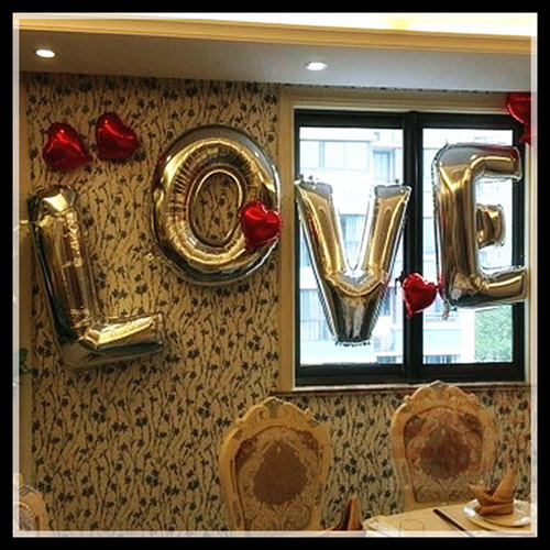 40''Gold/Silver large foil letter wedding balloons LOVE,Air/helium foil balloons for wedding party decoration 4pcs/lot(China (Mainland))