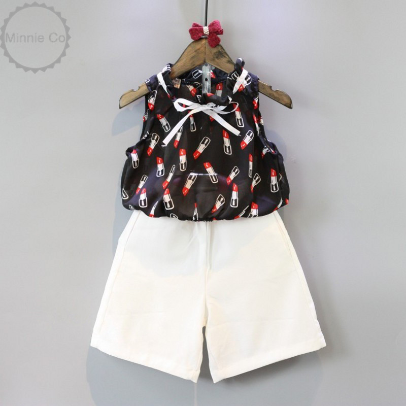 Hot sale 2016 kid clothes set summer short printed suits 2opcs sleeveless tacked ribbon belt blouse+white shorts girls clothing(China (Mainland))