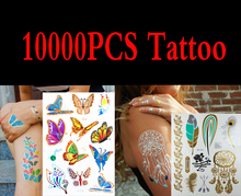 10000pcs High Quality Gold Blue Temporary Tattoo Body Art Metallic Silver Metallic Tattoos Gold Wholesale Foil Golden Jewelry(China (Mainland))