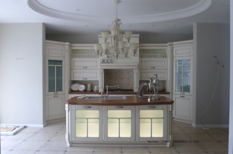 Classic white kitchen cabinets glass doors lh sw064 in for Glass kitchen cabinet doors