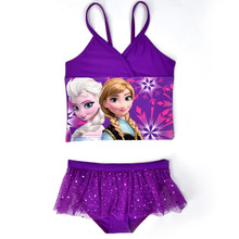 Elsa Anna Swimwear Kids Swimming Bikinis Set Two Pieces Baby Girls Bathing Suit Children Purpel Lace Sequined Swimsuit CL045