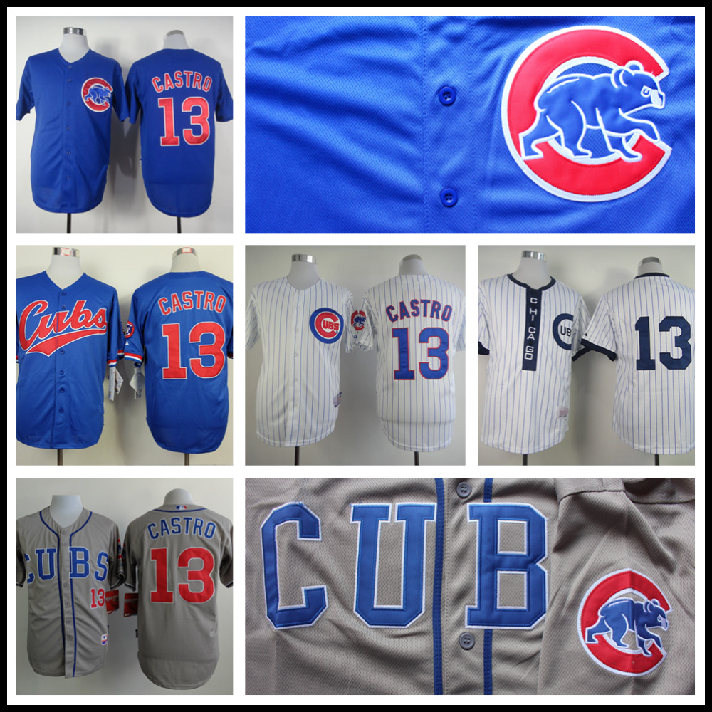 Cheap Starlin Castro Jersey, High Quality Chicago Cubs 13# Baseball Jersey, Stitched Blue Gry White(China (Mainland))