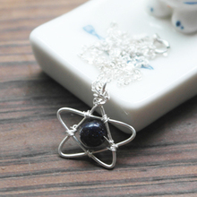 Buy PINJEAS 925 sterling silver necklaces Crystal Galaxy Blue Sandstone Stone handmade star Pendant Necklace Chain Jewelry for $9.34 in AliExpress store