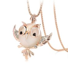 New Trendy Chubby Owl Necklace Fashion Rhinestone Crystal Jewelry Statement Women Necklace Chain Long Necklaces & Pendants(China (Mainland))