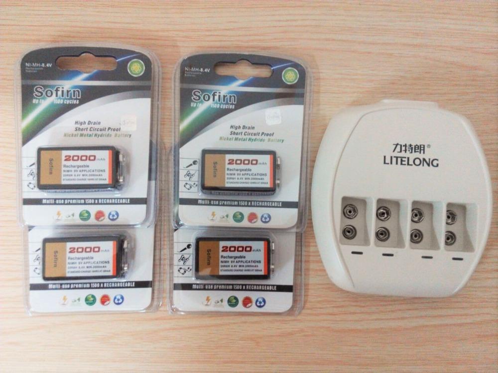 New Power 4 pcs 9v SUPER BIG 2000mAh NiMH batteries Rechargeable 9 Volt Battery + Dedicated 4 slots 9v charger(China (Mainland))