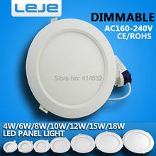 4pcs/pack dimmable  led down light  4w 6w 8w10w12w 15w 18w led ceiling recessed grid downlight  round panel light free shipping(China (Mainland))