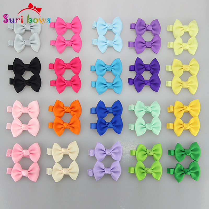 27 Pairs/set Color Baby Girls Toddler Bowknots Solid Dots Boutique Hair Clips Headwear Polyester Ribbon Barrettes Headpins FS006(China (Mainland))