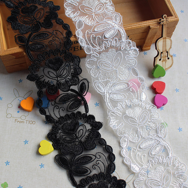 7CM bridal veil lace trim sewing for wedding tulle mesh embroidery corded lace trimming off white and black delicate border lace