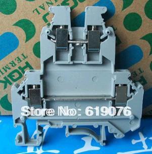 50pcs / box UKk3 DIN rail universal class Terminal blocks double-deck(China (Mainland))