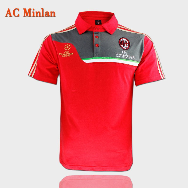 new 15 AC milan training clothes red POLO shirt football training POLO 2015 AC milan POLO football shirt Champions League cotton(China (Mainland))