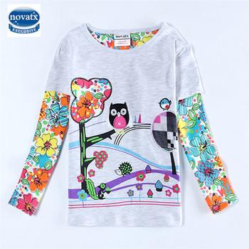 baby girl clothes 100% cotton print children girl t shirts nova brand kids clothing cartoon white t shirt for girls new F4207