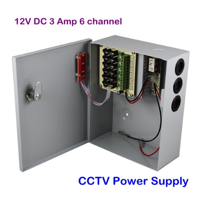 6CH CCTV Uninterruptible Security Camera Power Supply Box 12V 3A DC Free Shipping(China (Mainland))