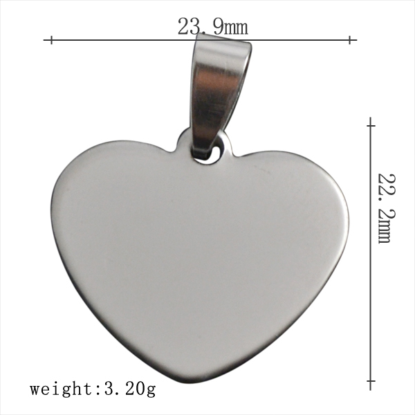 20pcs/lot stainless steel silver Pendant heart shape can carve letter DIY dog tag ball chain Necklace(China (Mainland))