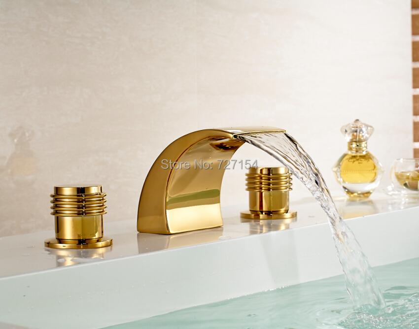 Фотография Free Shipping! New Golden Brass Waterfall Basin Faucet Dual Handles Deck Mounted Sink Mixer Tap