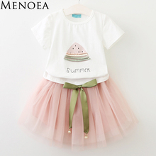 Buy Menoea Girls Dresses 2017 Brand New Summer Children dresses White Watermelon Print Short Sleeve T-Shirt+dress Kids Clothes 2-7Y for $6.89 in AliExpress store