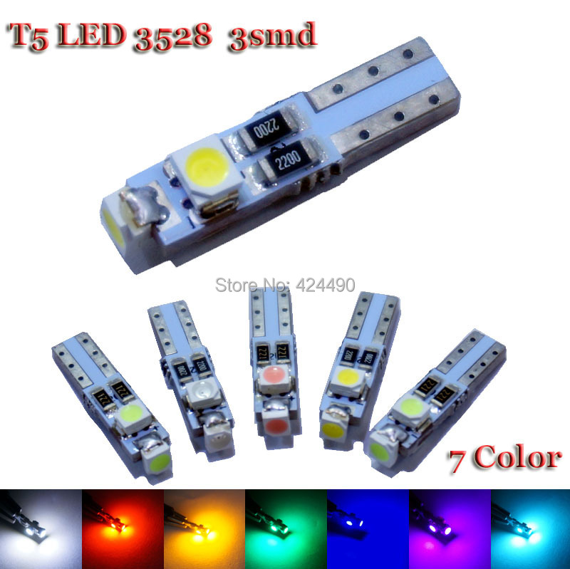 10pcs Car Auto LED T5 3 led smd 3528 Wedge LED Light Bulb Lamp 3SMD White Green Red Yellow pink crystal blue(China (Mainland))