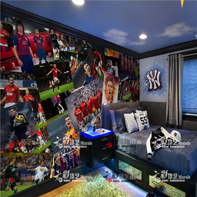 The football World Cup star newspaper collage bar KTV leisure sofa bedroom wall paper large murals(China (Mainland))