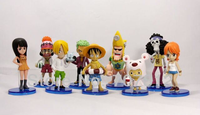 2013 New Arrival PVC 10cm One Piece Action Figures Nami/Luffy/Roronoa/Zoro/Sanji/Chopper  9pcs/set  free shipping