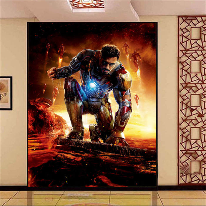 Iron man photo wallpaper super hero art mural movie silk for Chinese movie mural