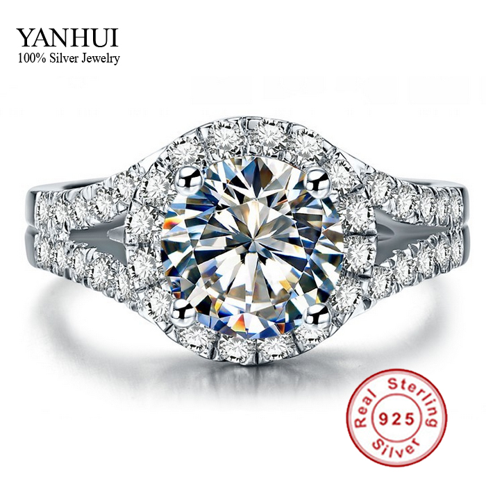 YANHUI Real 925 Sterling Silver Ring With S925 Stamp 3 Carat CZ Diamond Wedding Rings For Women Ring Size 4 5 6 7 8 9 10 YR001(China (Mainland))
