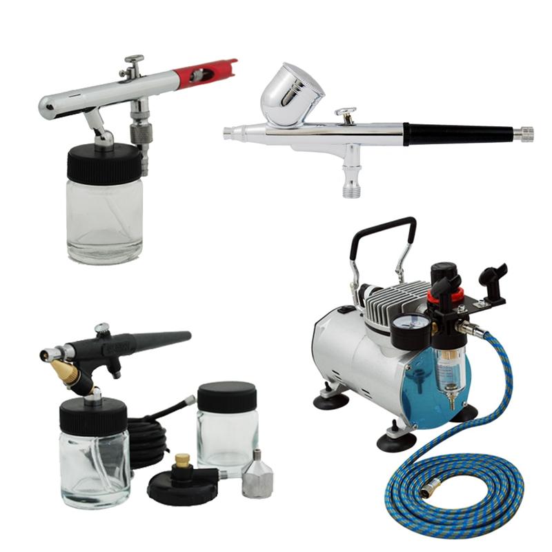 Professional 3 Airbrush Kit with AB-132, AB-125, AB-138 Airbrushes, Air Compressor TC-20B & Air Hose