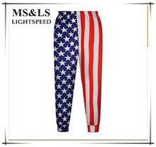 Hip Hop Harem Pants New pattern All-Match Harem Pants Women National flag Chiffon Pants Stamp Exercise  Hip Hop Harem Pants