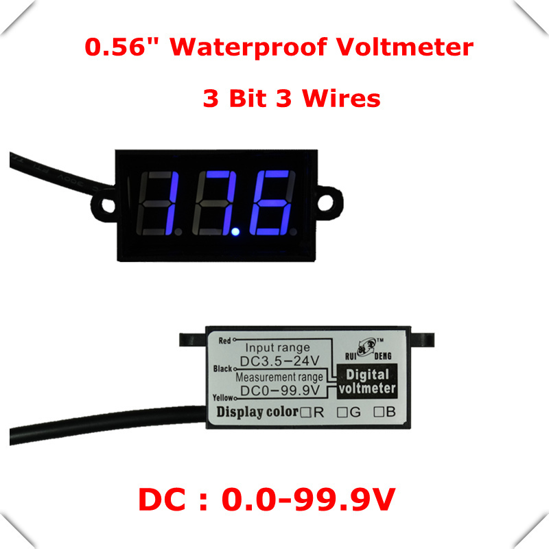 "home automation module LED display Color 0.56""Digital Voltmeter DC 0-100V 3 wires 3 BIT car Waterproof Voltage Panel Meter(China (Mainland))"